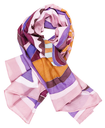 headcloth: knotted scarf from pink painted silk batik isolated on white background