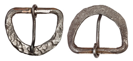 Forging Hardware - forged steel buckle for belt isolated on white background Stock Photo
