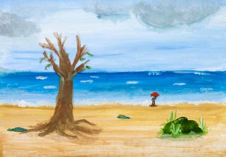 Illustration von Hand bemalt mit Aquarellen - Meer Strand in regnerischen Tag im Herbst