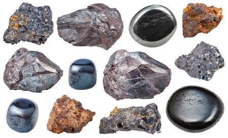 iron oxide: set of various hematite mineral rocks and gemstones isolated on white background