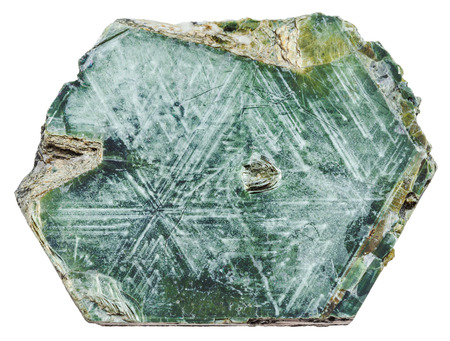 macro shooting of specimen of natural mineral - Phlogopite (magnesium mica) rock isolated on white background