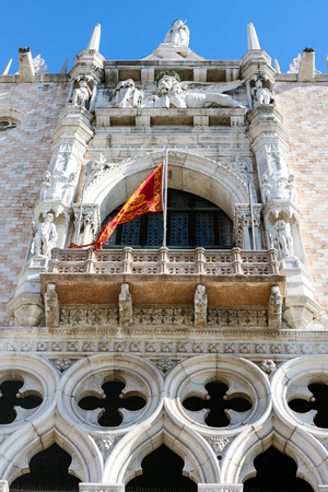 travel to Italy - decoration of facade of Doges Palace (Palazzo Ducale) in Venice.