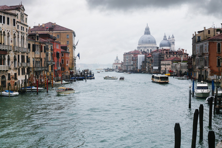 water bus: travel to Italy - Grand Canal in Venice city in rainy autumn day. Stock Photo