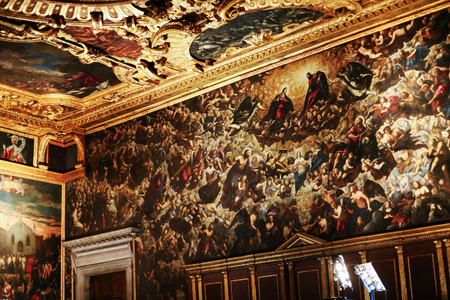 doges: VENICE, ITALY - OCTOBER 14, 2016: interior of Doges Palace (Palazzo Ducale) - painted walls. Doge Palace was built in Venetian Gothic style, and one of the main landmarks of the city of Venice.