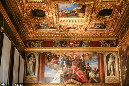 VENICE, ITALY - OCTOBER 14, 2016: interior of Doges Palace (Palazzo Ducale) - painted ceiling. Doge Palace was built in Venetian Gothic style, and one of the main landmarks of the city of Venice. Editorial