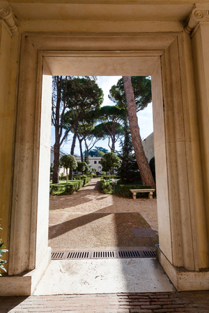 villa borghese: ROME, ITALY - NOVEMBER 1, 2016: gate of arcade Villa Giulia, houses Museo Nazionale Etrusco (National Etruscan Museum), big collection of Etruscan art and artifacts, in Villa Borghese gardens in Rome