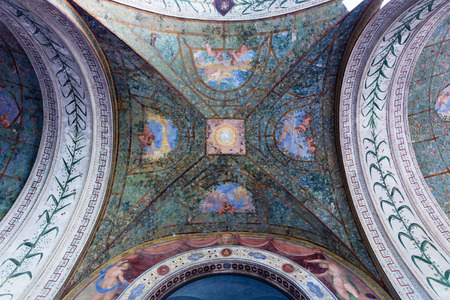 ROME, ITALY - NOVEMBER 1, 2016: ceiling of arcade in Villa Giulia, Museo Nazionale Etrusco (National Etruscan Museum), big collection of Etruscan art and artifacts, in Villa Borghese gardens in Rome Editorial