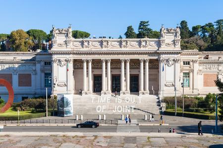 villa borghese: ROME, ITALY - NOVEMBER 1, 2016: facade of Galleria Nazionale dArte Moderna (GNAM, National Gallery of Modern Art) art gallery, founded in 1883, in Villa Borghese public gardens in Rome city Editorial