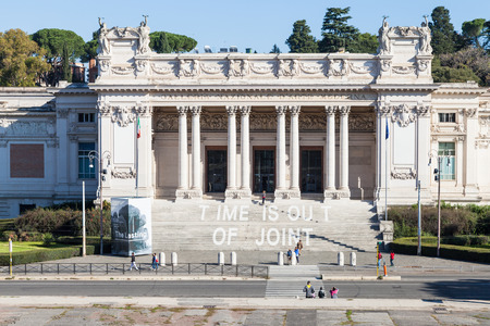 villa borghese: ROME, ITALY - NOVEMBER 1, 2016: front view of Galleria Nazionale dArte Moderna (GNAM, National Gallery of Modern Art) art gallery, founded in 1883, in Villa Borghese public gardens in Rome city Editorial