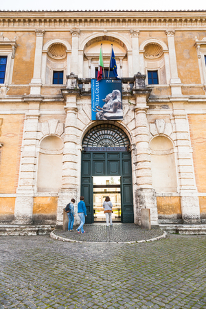 villa borghese: ROME, ITALY - NOVEMBER 1, 2016: tourists enter in Villa Giulia, Museo Nazionale Etrusco (National Etruscan Museum), big collection of Etruscan art and artifacts, in Villa Borghese gardens in Rome city