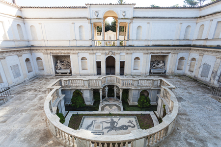 villa borghese: ROME, ITALY - NOVEMBER 1, 2016: patio in Villa Giulia, houses Museo Nazionale Etrusco (National Etruscan Museum), big collection of Etruscan art and artifacts, in Villa Borghese gardens in Rome city