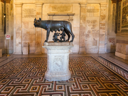 lupa: ROME, ITALY - OCTOBER 31, 2016: interior with capitoline she-wolf in Capitoline Museums in Palazzo dei Conservatori in Rome city. Art and Archeological museums are on Piazza del Campidoglio