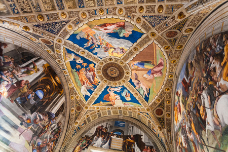VATICAN, ITALY - NOVEMBER 2, 2016: ceiling of Stanza di Eliodoro (Room of Heliodorus) decorated by Raphaels frescoes in Raphael Rooms of Vatican museums. The room was painted between 1511 - 1514
