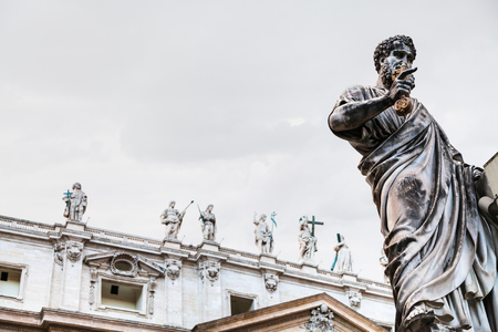 travel to Italy - Statue Saint Peter close up on piazza San Pietro in Vatican city Stock Photo