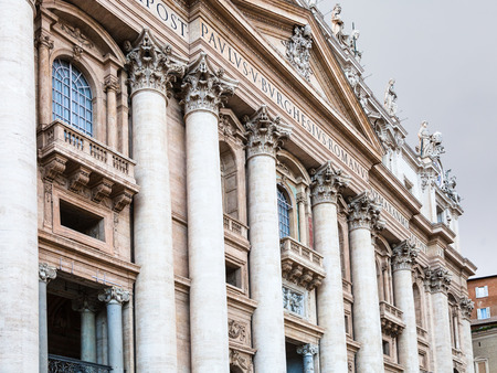 gloaming: travel to Italy - Papal Basilica of Saint Peter in Vatican city in evening twilight