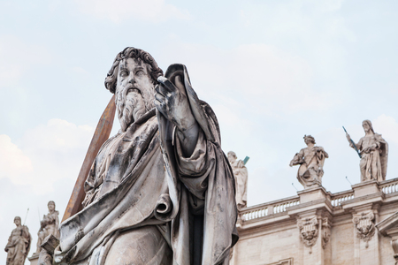 travel to Italy - Statue Paul the Apostle close up on piazza San Pietro in Vatican city Stock Photo