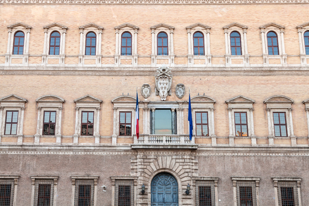 facade of Palazzo Farnese in Rome. The Palace is High Renaissance palaces in Rome, first designed in 1517 for Farnese family, now it is owned by the Italian Republic.