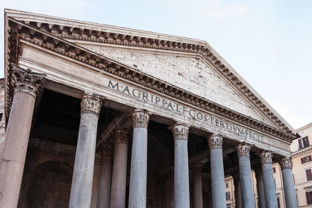 pantheon: travel to Italy - facade of Pantheon church in Rome city