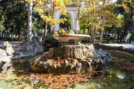 villa borghese: travel to Italy - fountain with fallen leaves in Villa Borghese public gardens in Rome city in autumn