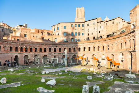 travel to Italy - Trajan market of Trajans Forum in ancient roman forums in Rome city