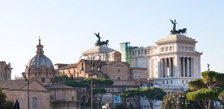 risorgimento: travel to Italy - Altare della Patria (Monument to Victor Emmanuel II), Central Museum of Risorgimento, dome of Chiesa dei Santi Luca e Martina in Rome city