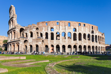 travel to Italy - view of ancient roman amphitheater coliseum in Rome city Stock Photo