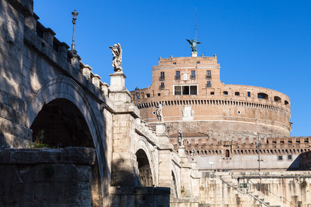 castel: travel to Italy - bottom view of bridge of St Angel and Castel Sant Angelo (Castle of the Holy Angel, Mausoleum of Hadrian) in Rome city Editorial