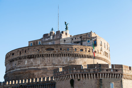 travel to Italy - tower of Castel SantAngelo (Castle of the Holy Angel, Mausoleum of Hadrian) in Rome city