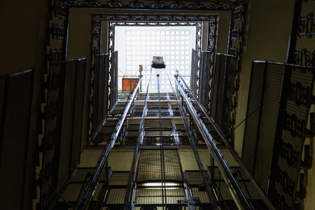 lift shaft in old multi-storey building in Rome