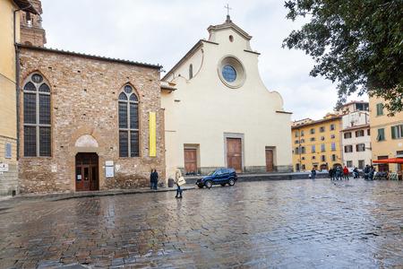 xv century: FLORENCE, ITALY - NOVEMBER 5, 2016: Basilica di Santo Spirito (Basilica of the Holy Spirit) on Piazza Santo Spirito in Florence city. Church was built in the XV century by Filippo Brunelleschi project
