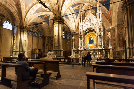 tabernacle: FLORENCE, ITALY - NOVEMBER 5, 2016: interior of Orsanmichele church in Florence city. There is Andrea Orcagnas Gothic Tabernacle (1355-59) with older icon of the Madonna and Child by Bernardo Daddi