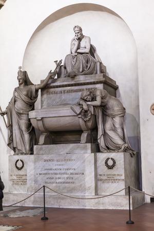 dante alighieri: FLORENCE, ITALY - NOVEMBER 6, 2016: memorial of Dante Alighieri in Basilica di Santa Croce (Basilica of the Holy Cross) in Florence. The church is burial place of famous Italians.