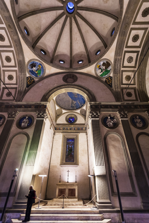 FLORENCE, ITALY - NOVEMBER 6, 2016: nave of Pazzi chapel in Basilica di Santa Croce (Basilica of the Holy Cross) in Florence. The chapel was commissioned to Brunelleschi by Andrea de Pazzi in 1429