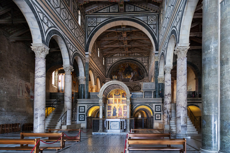 FLORENCE, ITALY - NOVEMBER 7, 2016: nave of Basilica San Miniato al Monte (St Minias on the Mountain). This is one of the few medieval churches in Florence that Renaissance architects have not rebuilt Editorial