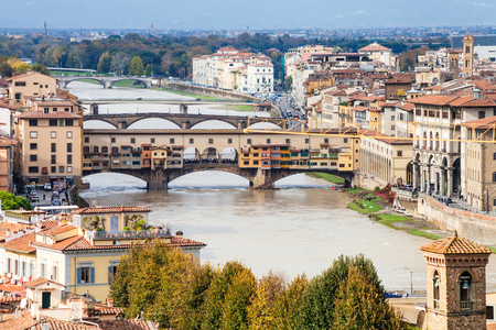 waterfront property: travel to Italy - above view of Ponte Vecchio in Florence city from Piazzale Michelangelo Stock Photo