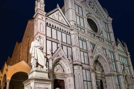 dante alighieri: travel to Italy - statue of Dante Alighieri and Basilica di Santa Croce (Basilica of the Holy Cross) in Florence city in night Stock Photo