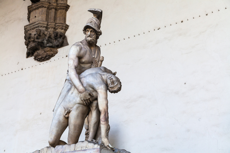 travel to Italy - statue Menelaus supporting the body of Patroclus on Piazza della Signoria in Florence city. Pasquino Group is fragment of ancient Roman sculpture