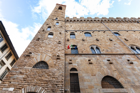 palazzo: travel to Italy - wall of Bargello palace (Palazzo del Bargello, Palazzo del Popolo, Palace of the People) in Florence city Stock Photo