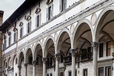 arcade of Loggia dei Servi di Maria on Piazza della Santissima Annunziata. The porch was built in1516-1525 by Antonio da Sangallo the Elder and Baccio dAgnolo