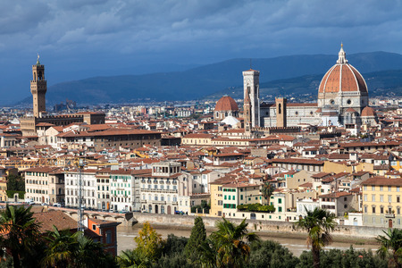 waterfront property: travel to Italy - skyline of Florence city with Duomo and Palazzo Vecchio from Piazzale Michelangelo Stock Photo