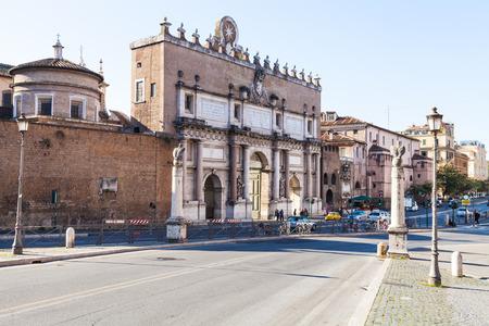 ROME, ITALY - NOVEMBER 1, 2016: view of Porta del Popolo (Porta Flaminia of ancient Rome) northern gate in the Aurelian Walls in Rome city.
