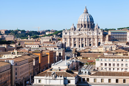 travel to Italy - view of St Peter Basilica in Vatican city and street via Conciliazione in Rome from San Angelo Castle