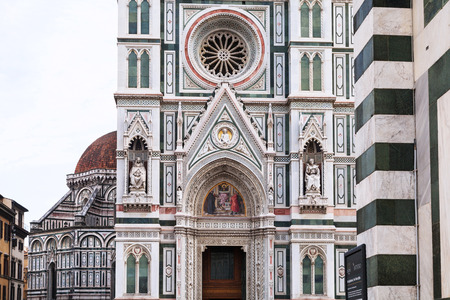 wall decor: travel to Italy - decor of wall of Duomo Cathedral Santa Maria del Fiore in Florence city Stock Photo