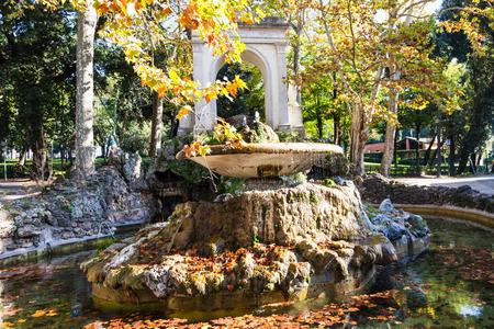 villa borghese: travel to Italy - view of fountain in Villa Borghese public gardens in Rome city in autumn
