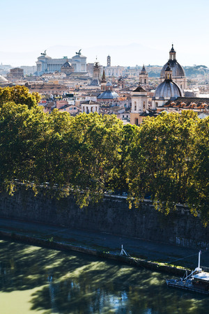 travel to Italy - above view of Tiber river and Rome city in side of Capitoline Hill from Castle of St Angel Stock Photo