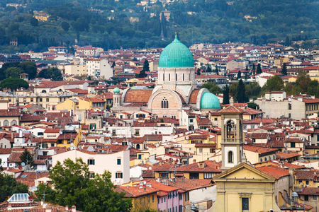 travel to Italy - skyline of Florence city with Great Synagogue (Tempio Maggiore) from Piazzale Michelangelo in autumn evening