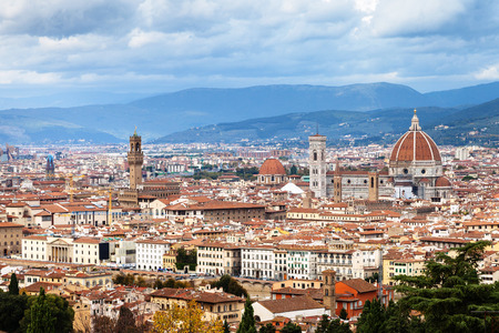 travel to Italy - cityscape of center of Florence city from San Miniato al Monte in autumn