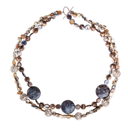 labradorite: top view of round necklace from labradorite and rhodonite natural gem stones balls, abalon nacre beads isolated on white background Stock Photo
