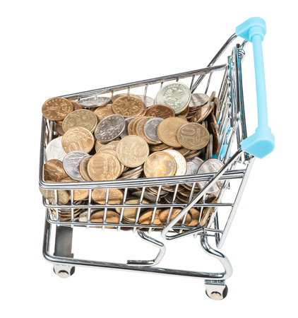 shopping buggy: shopping cart with russian coins isolated on white background Stock Photo
