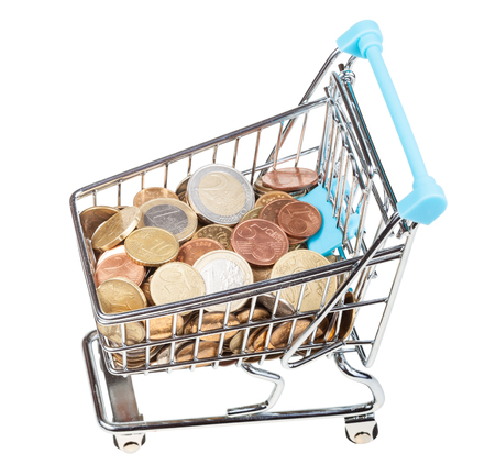 bascart with euro coins isolated on white background Stock Photo
